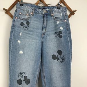 H&M Disney High Waisted Mickey Mouse Jeans 10